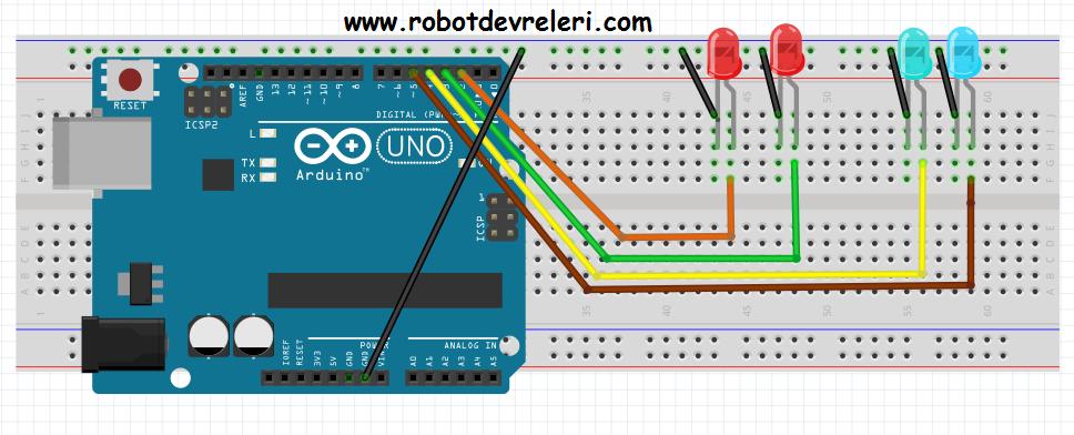 Arduino yürüyen işık robotdevreleri